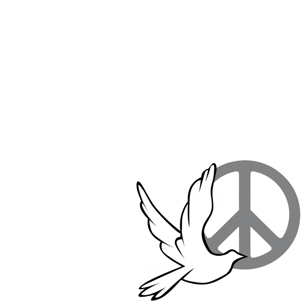 Peace sign with dove profile picture overlay filter logo